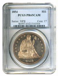 1854 $1 PCGS Proof 65 Cameo
